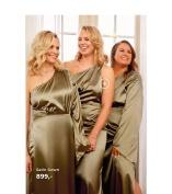 Luksuriøse satin kjoler i oliven grøn