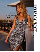 Leopardmønstret kjole med wrap-detalje