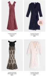 Carolina Gynning Lace Gown, Lace Wrap Dress, Off Shoulder Gown