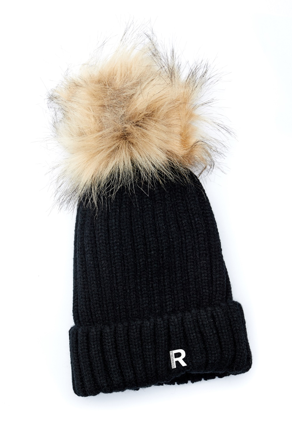 eb2847c578c ROCKANDBLUE Hat Pom Pom Faux Fur Black/Natural - Bubbleroom