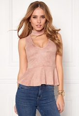BUBBLEROOM Gossip suede top Dusty pink
