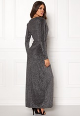 Girl In Mind Plunge V Neck Wrap Dress Black/silver