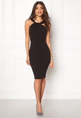 Goddiva Pleated Neckline Dress Black