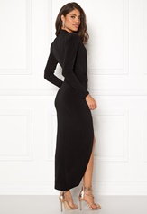 John Zack Long Sleeve Rouch Dress Black