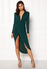 John Zack Long Sleeve Rouch Dress Bottle Green