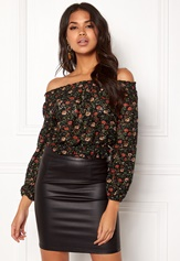 New Look Ballon Printed Lace Top Black Pattern Bubbleroom.dk
