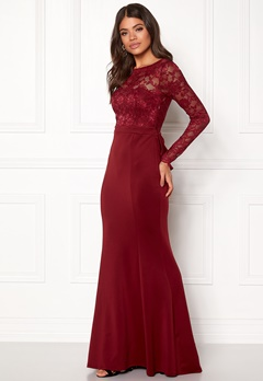 Goddiva Open Back Lace Dress Wine Bubbleroom.dk