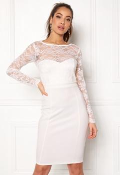 Goddiva Bardot Midi Dress Bow White Bubbleroom.dk