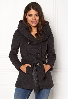 ONLY mary lisa short wool coat Dark grey melange Bubbleroom.dk