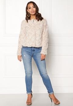 VERO MODA Curl Short Fake Fur Jacket Oatmeal Bubbleroom.dk