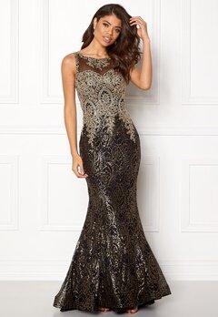 SUSANNA RIVIERI Fishtail Sequin Dress Gold/Black Bubbleroom.dk