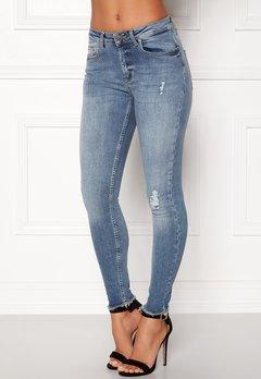 ONLY Blush Mid Raw Jeans Light Blue Denim Bubbleroom.dk