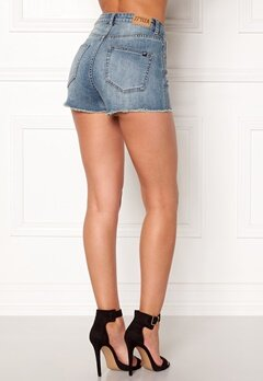 77thFLEA Felice high waist shorts Medium blue Bubbleroom.dk