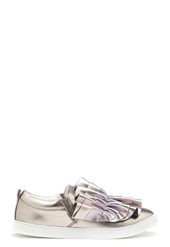 LOST INK Nash Ruffle Slip-On Shoes Pewter Bubbleroom.dk