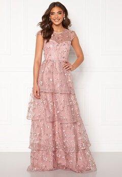 Alexandra Nilsson X Bubbleroom Flounced gown Dark heather pink Bubbleroom.dk