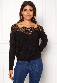 ONLY Ally L/S Pullover Knit Black Bubbleroom.dk