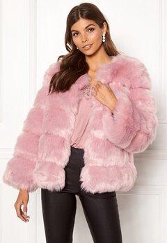AMO Couture Dusk Faux Fur Short Coat Dusky Pink Bubbleroom.dk