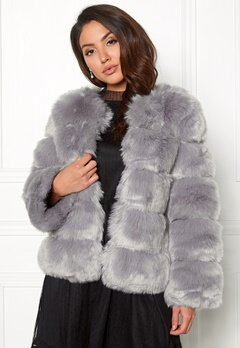 AMO Couture Dusk Faux Fur Short Coat Pewter Bubbleroom.dk