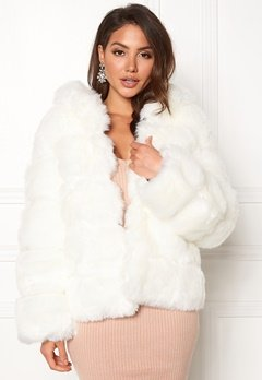 AMO Couture Roma Faux Fur Short Coat Pure White Bubbleroom.dk