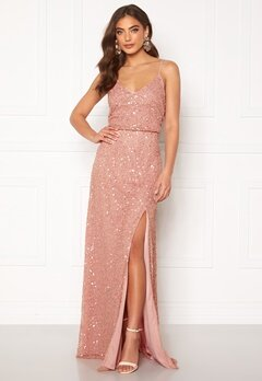 AngelEye Allover Sequin Maxi Dress Rose Gold Bubbleroom.dk