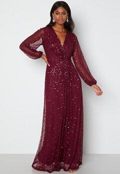 AngelEye Long Sleeve Seqiun Dress Burgundy bubbleroom.dk