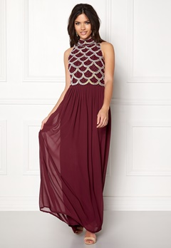 AngelEye Sequin Bodice Maxi Dress Burgundy Bubbleroom.dk