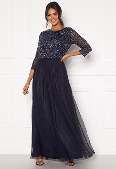 AngelEye Sequin Bodice Maxi Dress Navy Bubbleroom.dk
