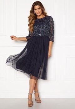 AngelEye Sequin Bodice Mid Dress Navy Bubbleroom.dk