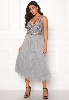 AngelEye Sequin Flower Midi Dress Grey Bubbleroom.dk