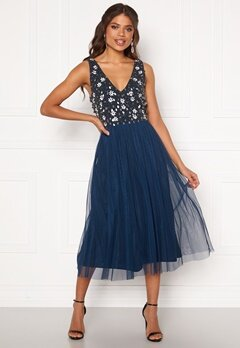 AngelEye Sequin Flower Midi Dress Navy Bubbleroom.dk