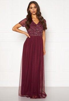 AngelEye Short Sleeve Sequin Dress Burgundy Bubbleroom.dk