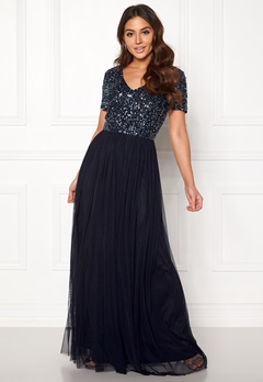 AngelEye Short Sleeve Sequin Dress Navy Bubbleroom.dk