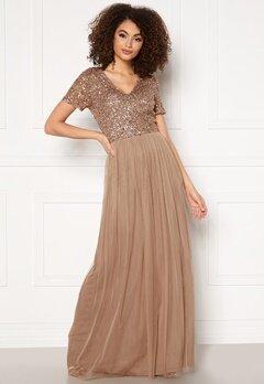 AngelEye Short Sleeve Sequin Dress Taupe Bubbleroom.dk