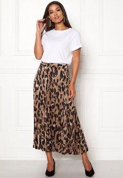 New Look Animal Pleated Midi Skirt Brown Pattern Bubbleroom.dk