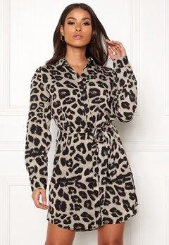 AX Paris Animal Print Shirt Dress Grey Leo Bubbleroom.dk