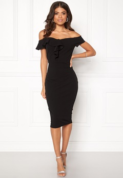 AX Paris Bardot Frill Detail Dress Black Bubbleroom.dk
