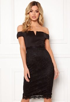 AX Paris Bardot Lace Midi Dress Black Bubbleroom.dk
