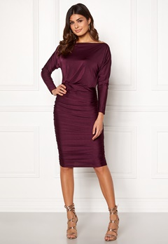 AX Paris Boat Neck Midi Dress Plum Bubbleroom.dk