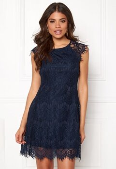 AX Paris Cap Crochet Lace Dress Navy Bubbleroom.dk