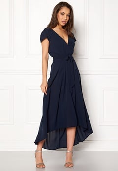 AX Paris Cap Waterfall Dress Navy Bubbleroom.dk