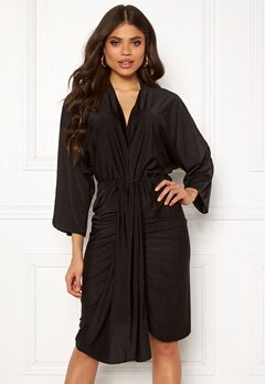 AX Paris Deep V Drape Midi Dress Black Bubbleroom.dk