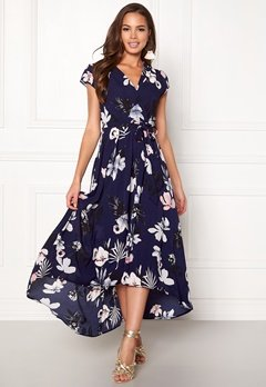 AX Paris Floral Cap Sleeve Dress Navy Bubbleroom.dk