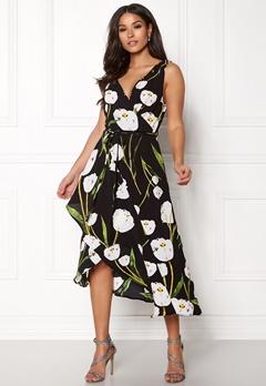 AX Paris Floral Print Wrap Dress Black Bubbleroom.dk