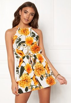 AX Paris Floral Tie Waist Playsuit Orange Bubbleroom.dk