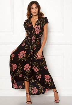 AX Paris Floral Waterfall Dress Black Bubbleroom.dk