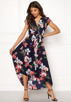 AX Paris Floral Waterfall Dress Navy Bubbleroom.dk