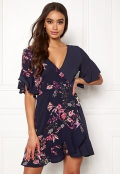 40609307c674 AX Paris Frill Sleeve Wrap Dress Navy Bubbleroom.dk