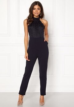 AX Paris High Neck Bodice Jumpsuit Navy Bubbleroom.dk