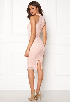 AX Paris High Neck Lace Midi Dress Nude Bubbleroom.dk