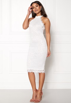 AX Paris High Neck Lace Midi Dress White Bubbleroom.dk
